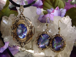 "A ""Stacked"" Setting With A Vintage 18x13 Abalone Shell Cabochon & Matching Earrings"
