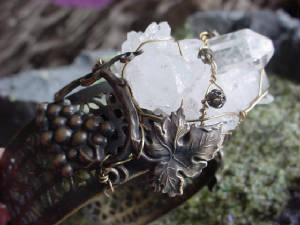 "This Hand Oxidized Filigree Cuff Bracelet Is Topped With A Quartz Crystal Cluster And An Oxidized Brass Grape Vine. The Top (Focal Pieces) Were Wired (Or ""Sewn"") Onto The Cuff Using 22g Oxidized Brass Wire"
