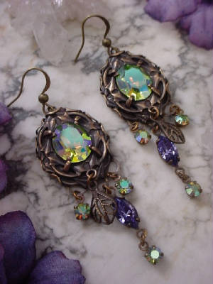 Earrings Made From Vintage 12x10 Swarovski Crystal Peridot AB Rhinestones Set In Oxidized Brass 12x10 Lace Edge Settings With Oxidized Brass Vintage Swarovski Crystal Drops