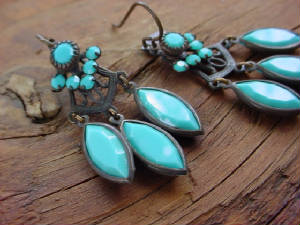 Swarovski Turquoise Earrings Featuring Our Hand Oxidized Swarovski Turquoise Channel Set (prongless) Settings