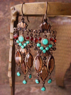 These Earrings Feature Oxidized Brass Swarovski Crystals In Turquoise, Light Smoke Topaz (Navettes), And Indian Red