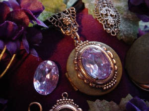 An Oxidized Brass Locket Is Topped With A Vintage Art Deco 18x13 Setting (custom plated in copper) And A Vintage 18x13 Alexandrite Rhinestone. The Bail Is Created From A Copper Plated Filigree Folded In Half