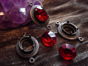 Old Vintage Brass Connector Settings With Hand Soldered Pronged Settings. Shown With Vintage Ruby Glass 10x8 Rhinestones.